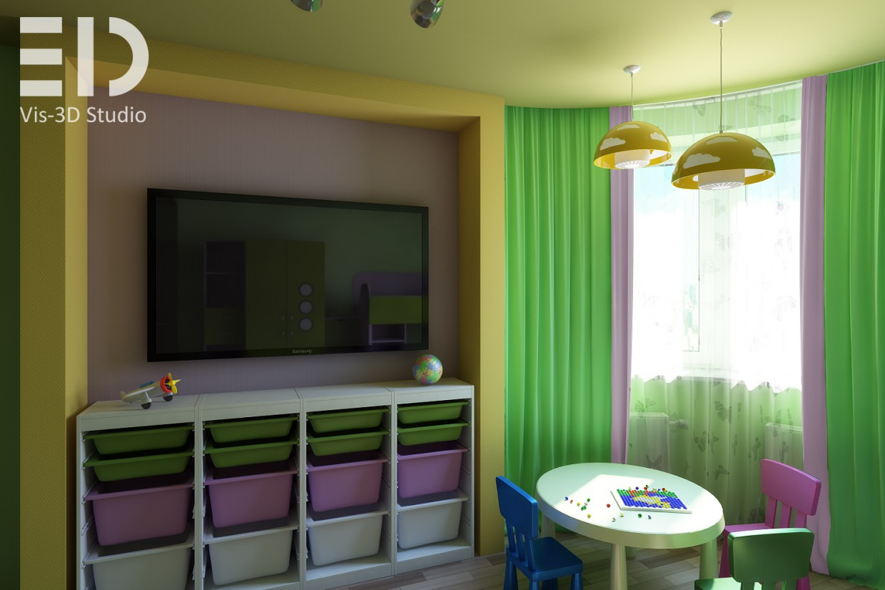 Visualization of a child's room in 3d max vray image