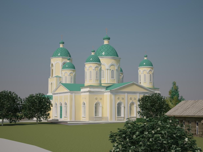 Церква Трійці Живоначальної в 3d max vray зображення