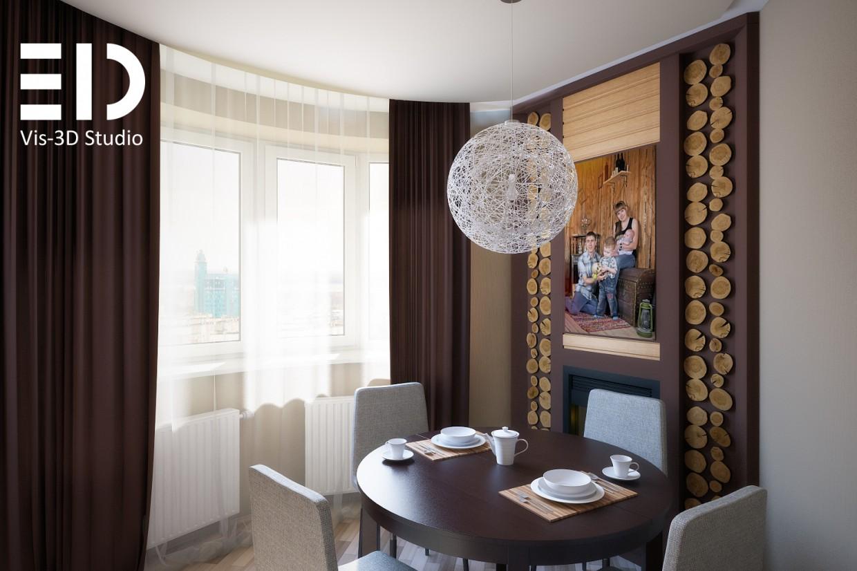 imagen de Pequeño apartamento tipo estudio para la familia en 3d max vray