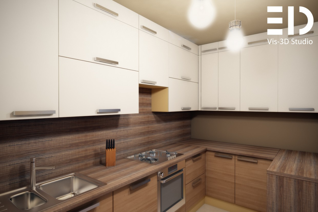 Small studio apartment for the family in 3d max vray image