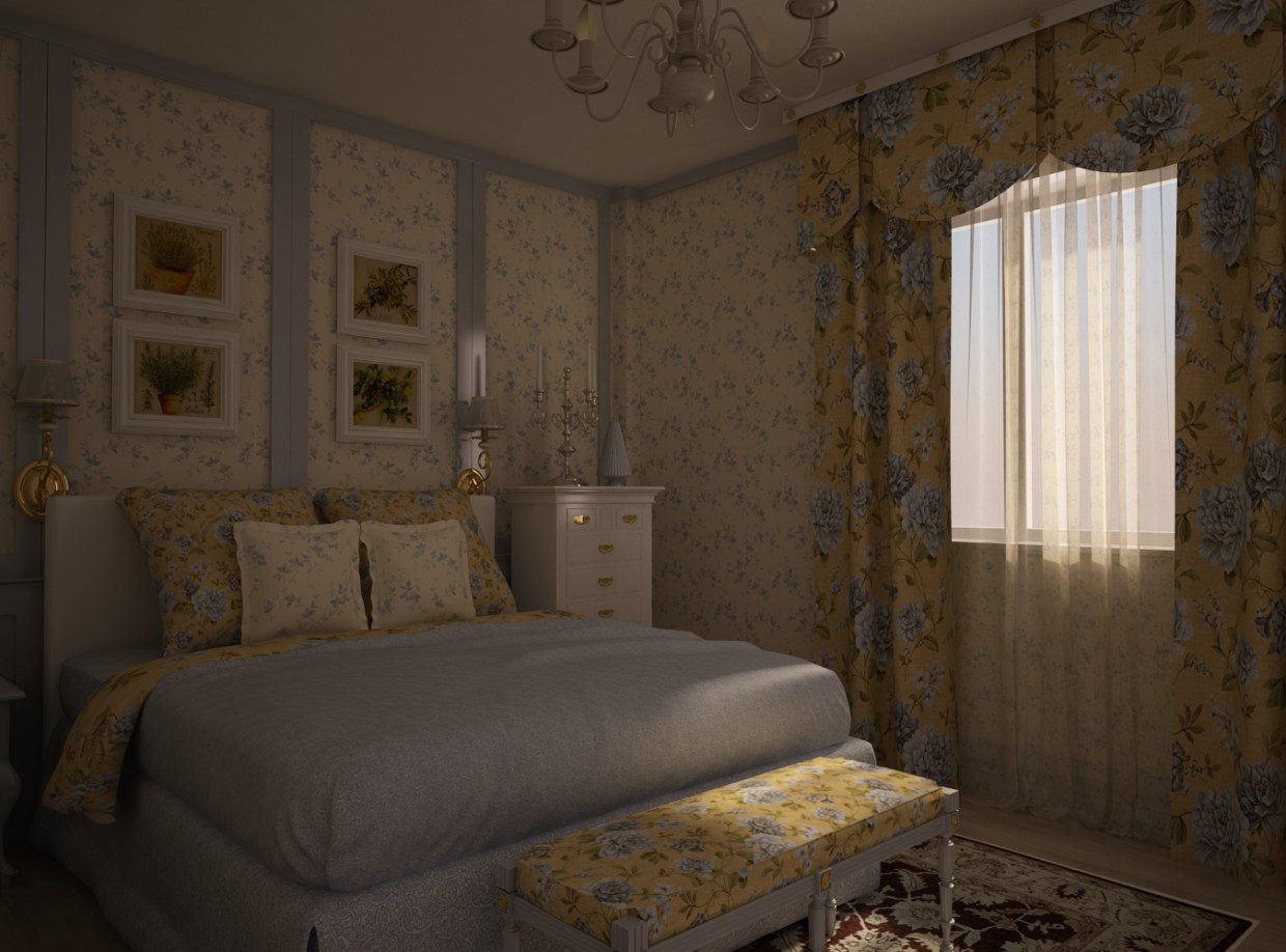Bedroom design in 3d max vray image