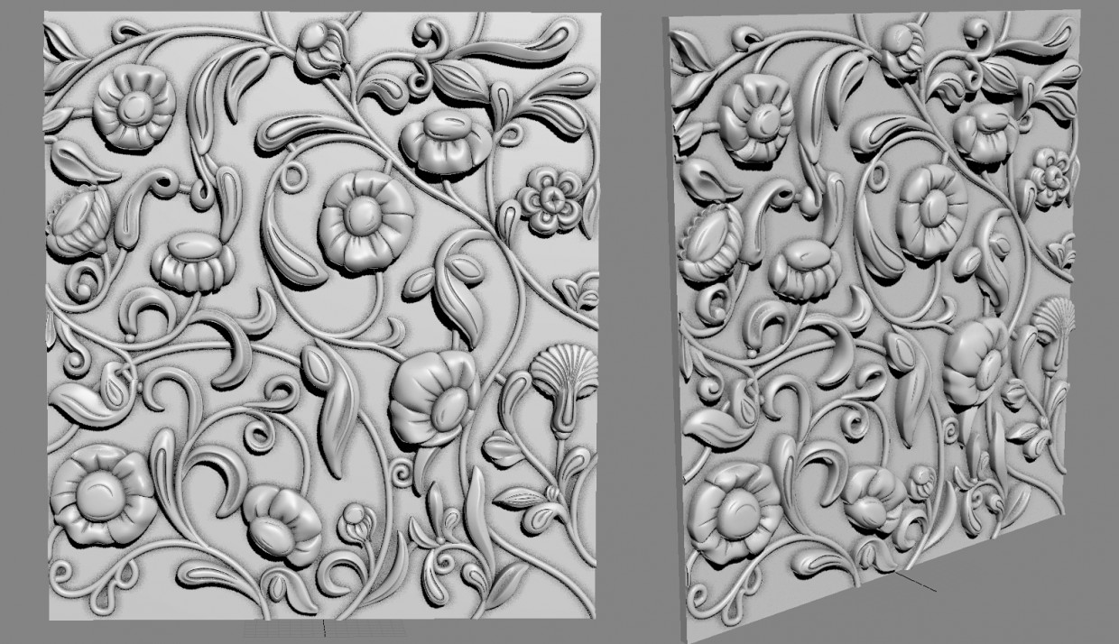 Bas-relief for furniture in 3d max vray image