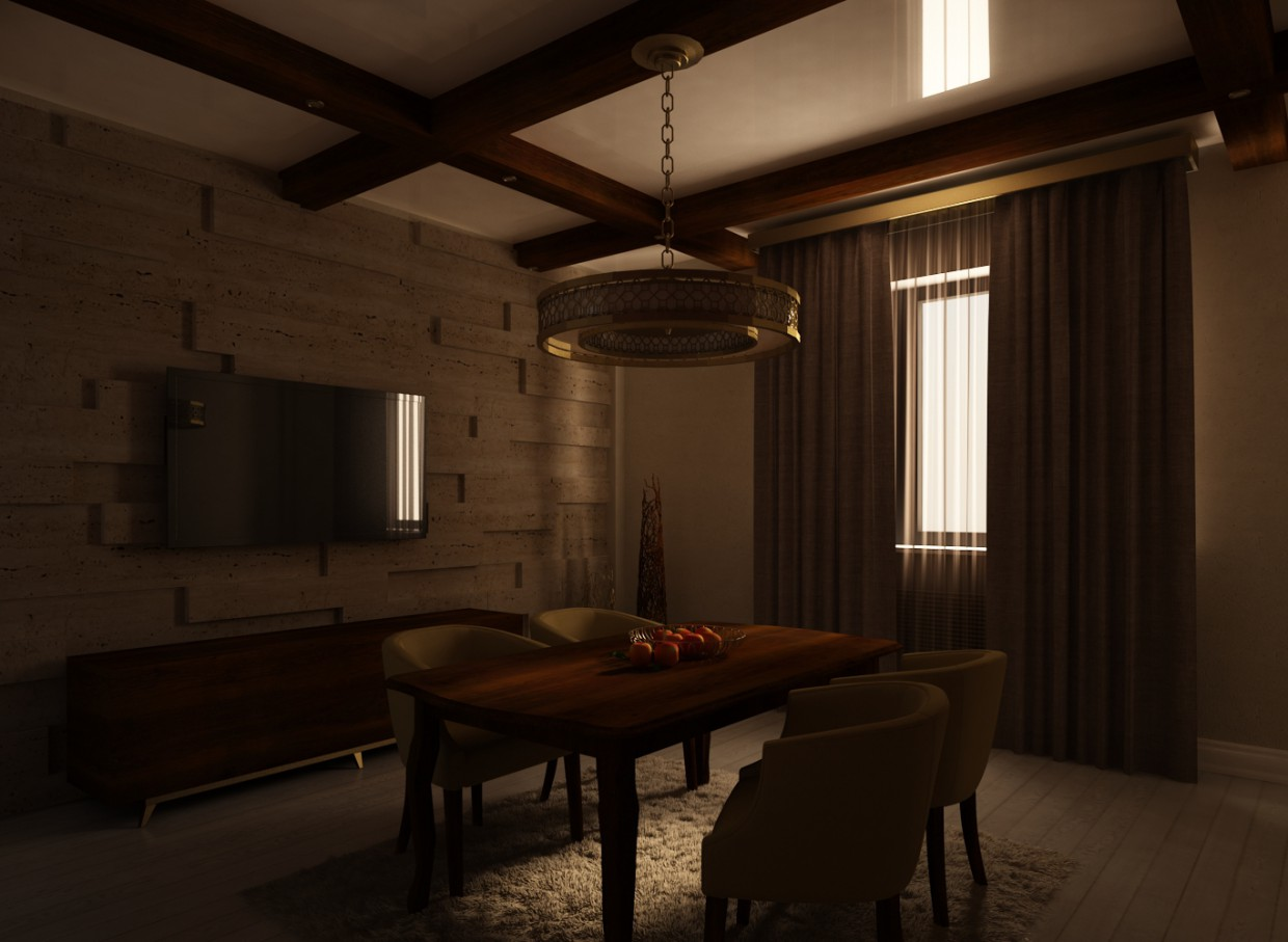 Design of a dining room in 3d max vray image