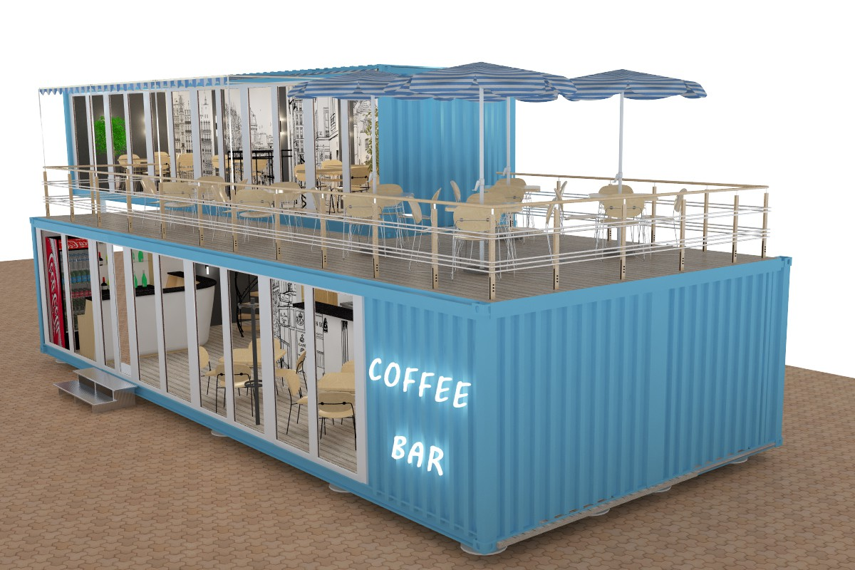 Cafe in 3d max vray image