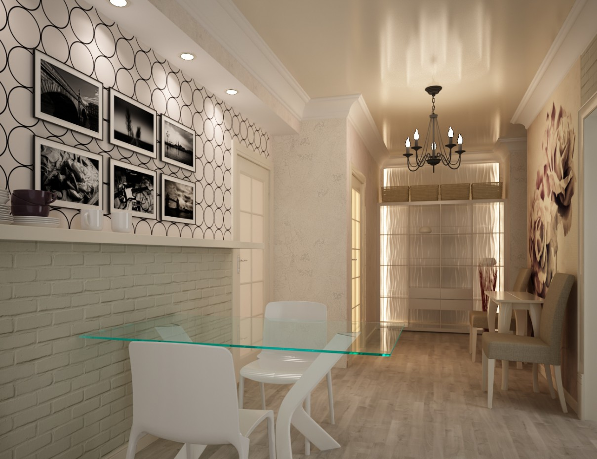 Space between corridor and kitchen  in  3d max   vray  image
