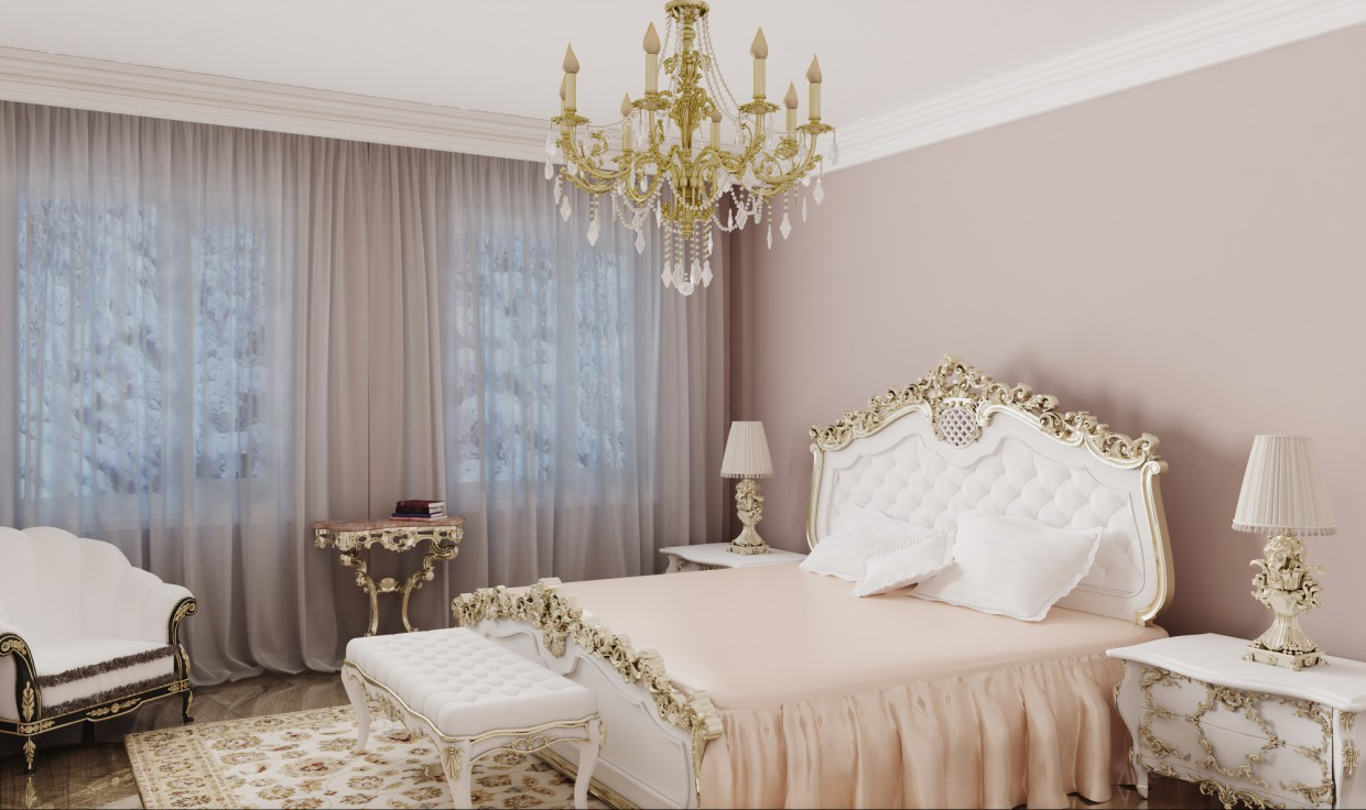 Bedroom classics in 3d max vray image