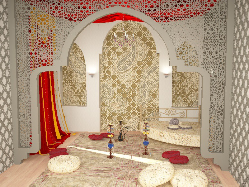 3d visualization of the project in the eastern style room 3d max, render vray of urodi