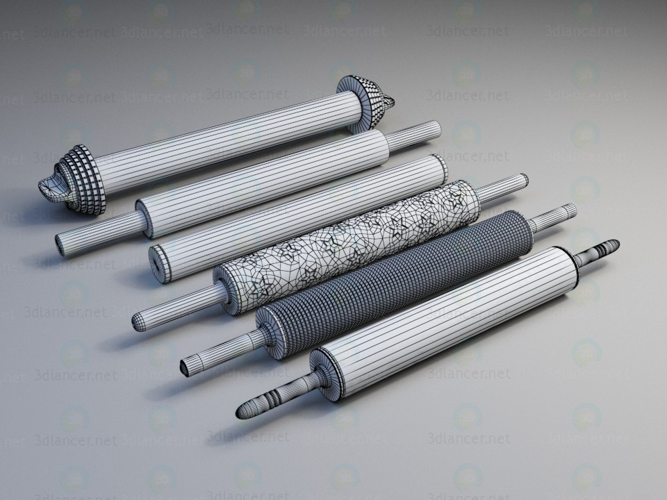 3d model Metal rolling pin for the test - preview