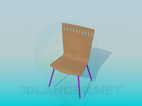 3d model Chair with solid wooden backrest and seat - preview