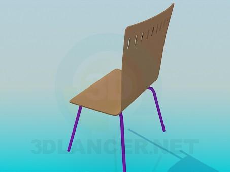 3d модель Стул со сплошной деревянной спинкой и сидением – превью