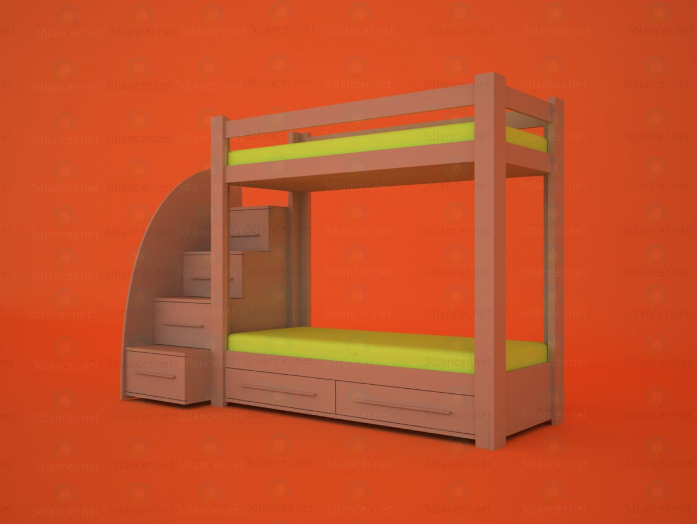3d модель Двох'ярусне дитяче ліжко – превью