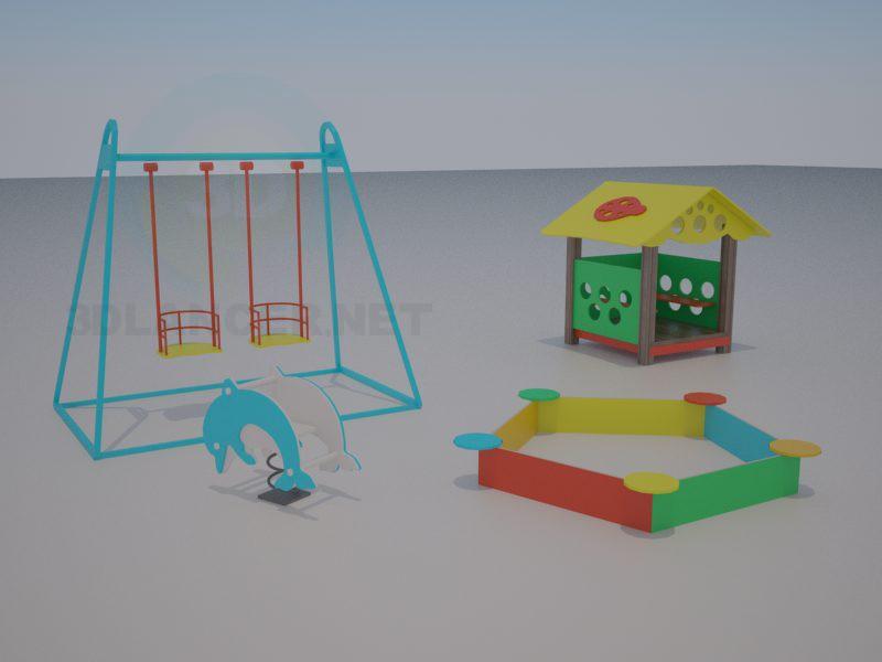 3d модель Дитячий ігровий майданчик – превью