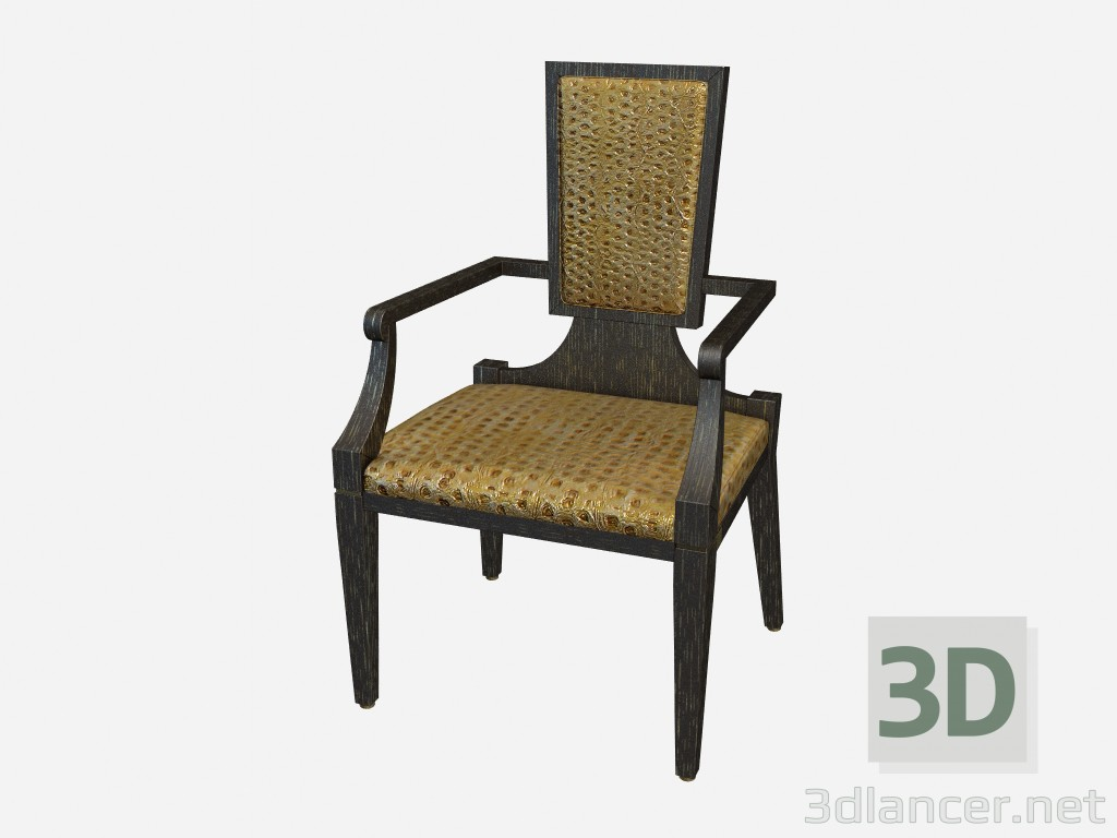 3d model Wooden chair with armrests Ellington - preview