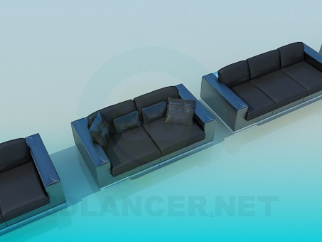 3d modeling Couch, sofa and armchair set model free download