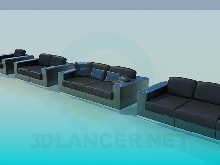 3d model Couch, sofa and armchair set - preview
