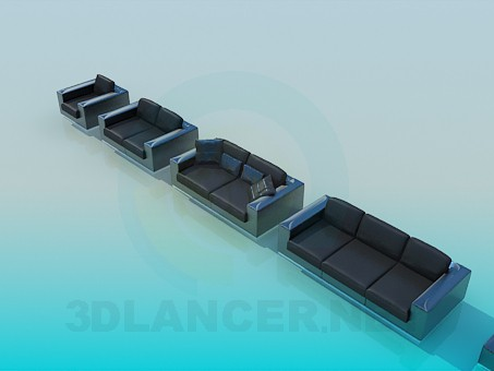 3d модель Диван, софа и кресла в комплекте – превью