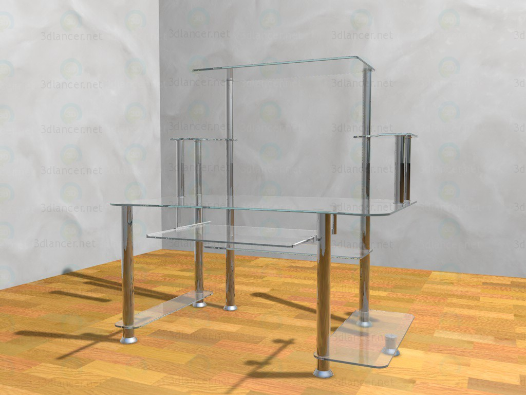 3d model computer table glass metal in the style of high tech