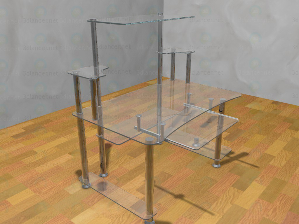 3d model computer table glass metal style high tech download for