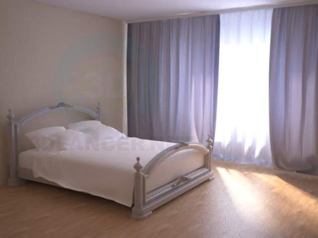 3d моделирование Просто кровать в комнате. модель скачать бесплатно