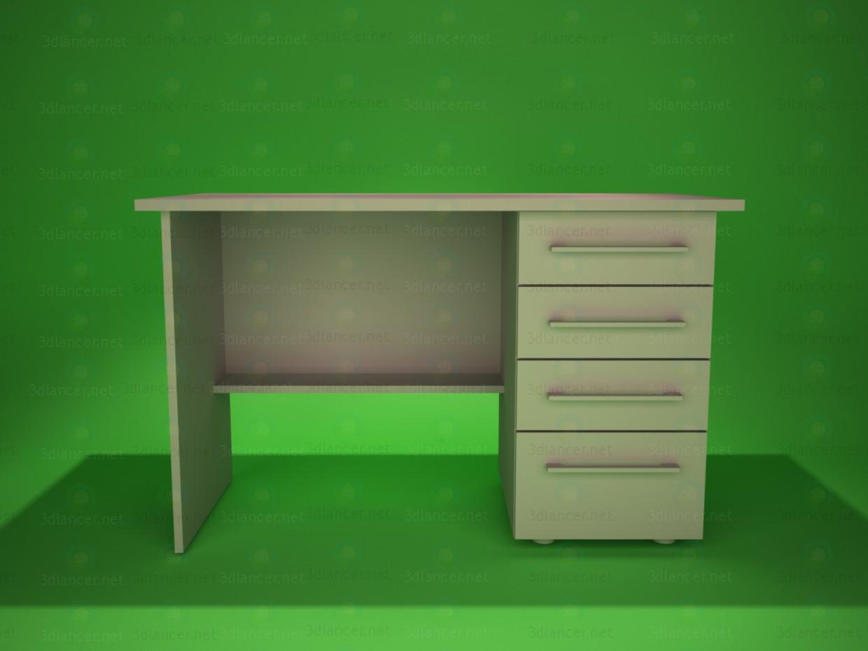 3d модель стол письменный c шухлядами – превью