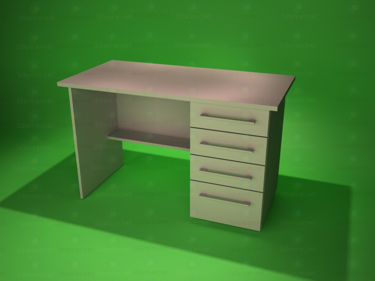 3d modeling Desk with drawers model free download