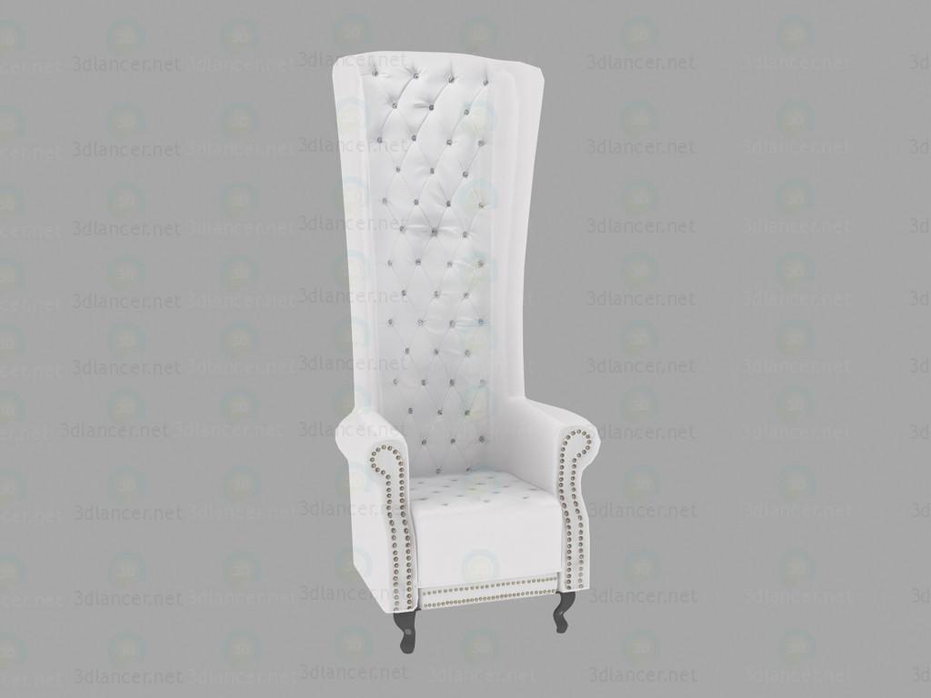 Modelo 3d Cadeira Queen branco - preview