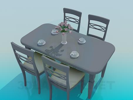 descarga gratuita de 3D modelado modelo Mesa de comedor y sillas