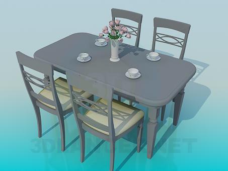 3d модель Обеденный стол со стульями – превью
