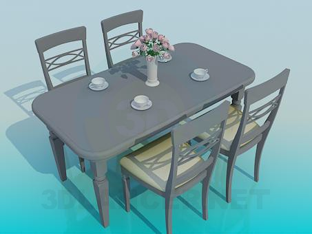 3d model Dining table and chairs - preview