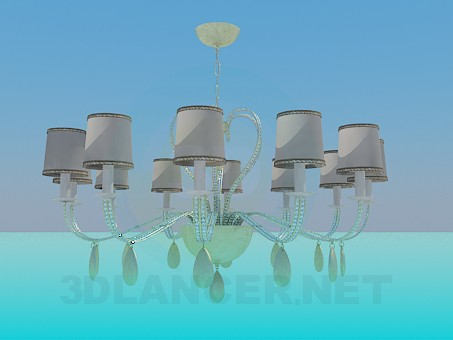 3d model Broad chandelier with glass circular - preview