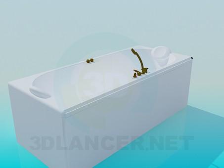 3d модель Ванна-джакузи с медным смесителем – превью