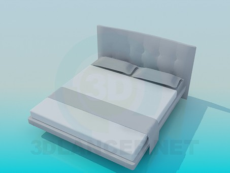 3d модель Низкая двуспальная кровать – превью