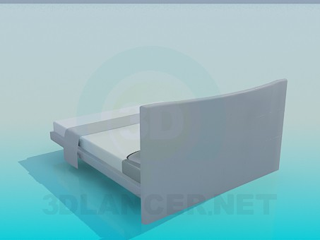 3d модель Низька двоспальне ліжко – превью