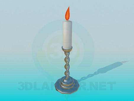 3d моделирование Горящая свеча в подсвечнике модель скачать бесплатно