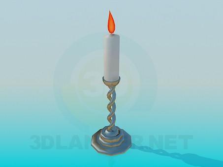 3d модель Палаюча свічка в свічнику – превью