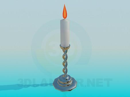 3d модель Горящая свеча в подсвечнике – превью