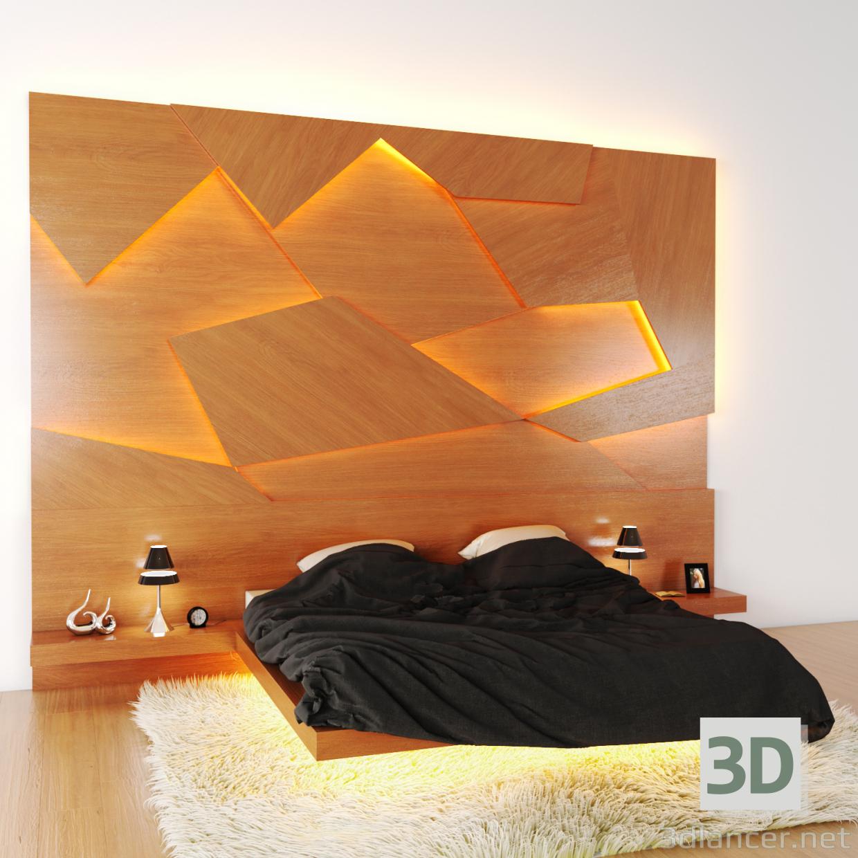 3d Krovat s 3D panel model buy - render
