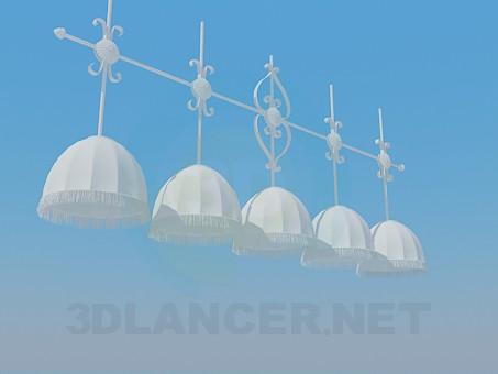 3d моделирование Люстра на 5 абажуров модель скачать бесплатно