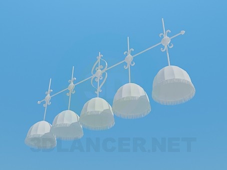 3d model Chandelier at 5 lamp shades - preview