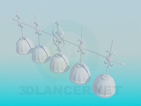3d модель Люстра на 5 абажуров – превью