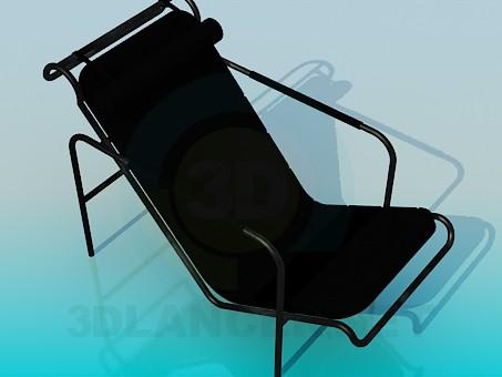 3d моделювання Чорний металевий шезлонг модель завантажити безкоштовно