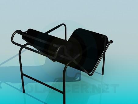 3d модель Черный металический шезлонг – превью