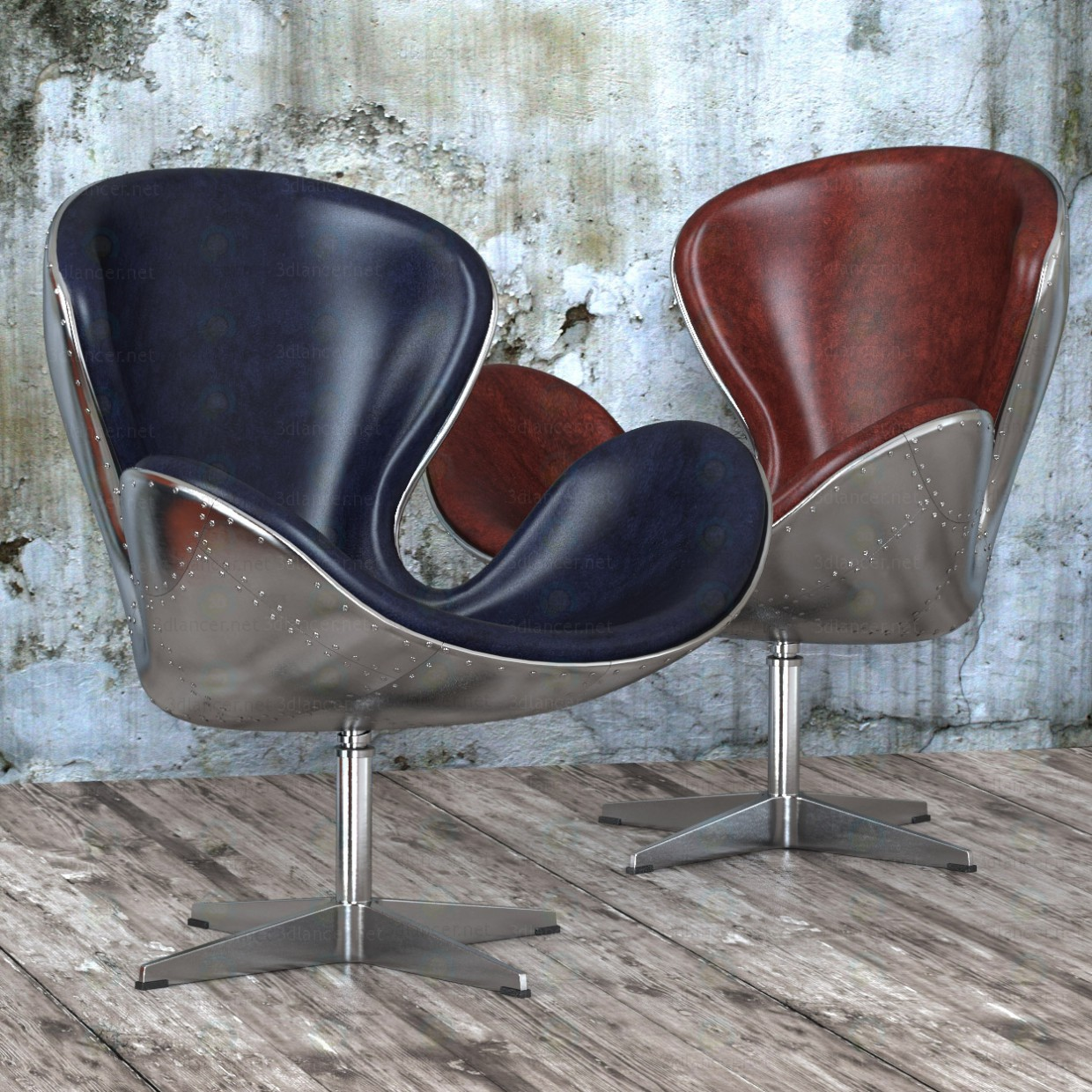 Armchair Spitfire Swan Chair Aviator (5 colors) paid 3d model by artistos preview