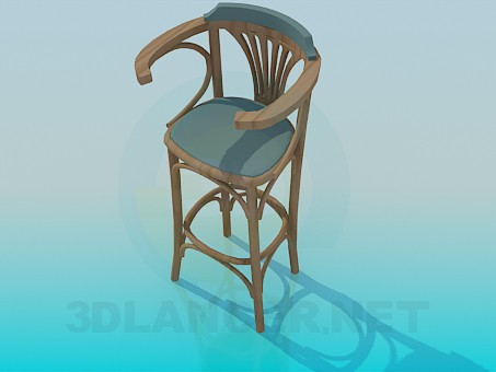 3d model Wooden bar stool - preview
