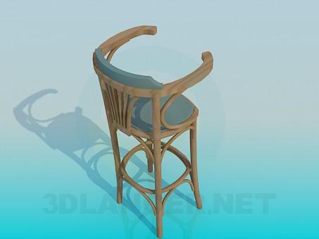modelo 3D Taburete de bar madera - escuchar