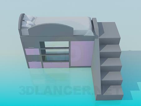 3d модель Двоярусне дитяче ліжко – превью