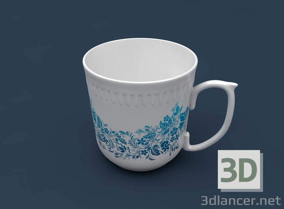 3 डी मॉडल छोटा कप (सिरेमिक, नालीदार बेजल) - पूर्वावलोकन