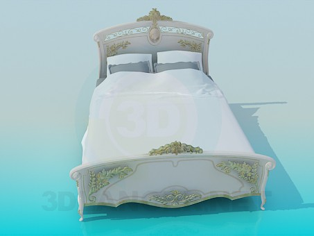3d model Baroque bed - preview