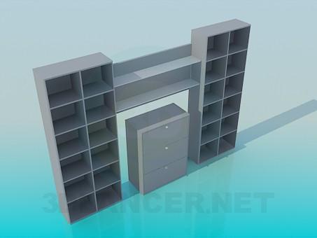 descarga gratuita de 3D modelado modelo Estantes para libros con el aparador en el centro
