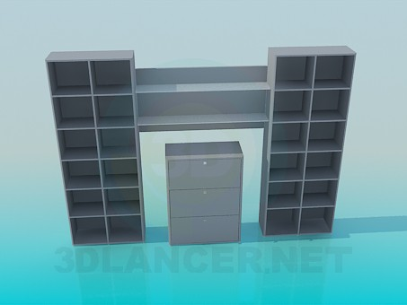 3d модель Стелаж для книг з комодом в центрі – превью